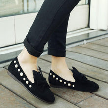 Load image into Gallery viewer, Girls Woman's Loafers Shallow Mouth Pearl Bow Tie Flats Shoes