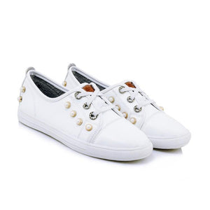 Girls Woman's Casual Flat-bottomed White Shoes
