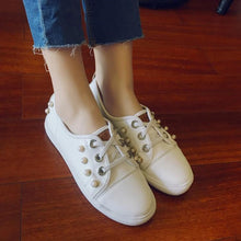 Load image into Gallery viewer, Girls Woman's Casual Flat-bottomed White Shoes