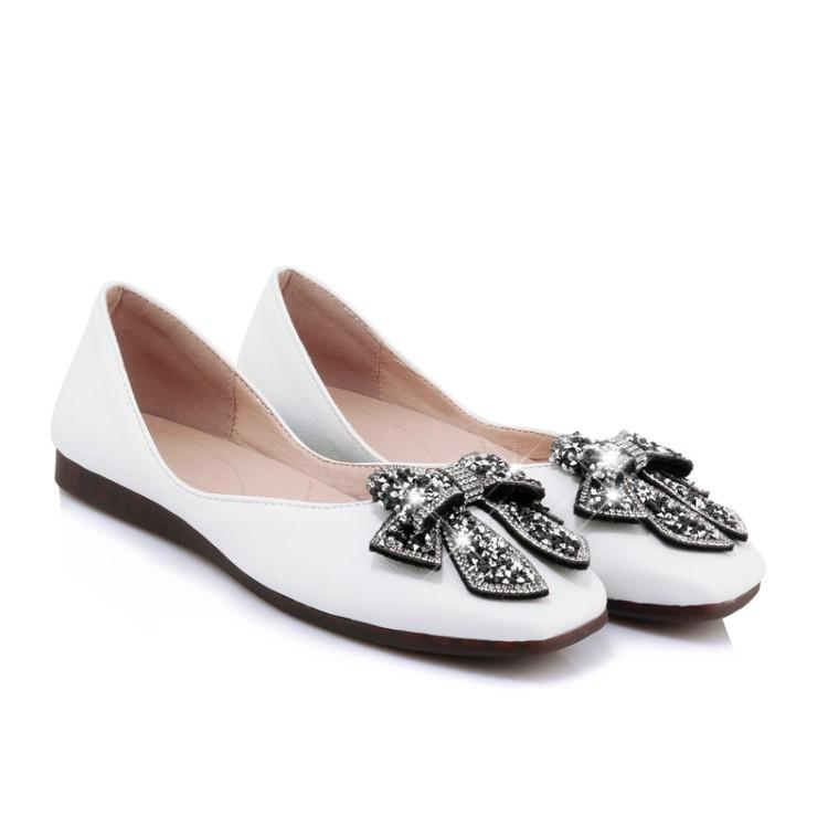 Girls Woman's Loafers Shallow Mouth Square Head Rhinestone Flats Shoes