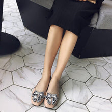 Load image into Gallery viewer, Girls Woman's Loafers Shallow Mouth Square Head Rhinestone Flats Shoes