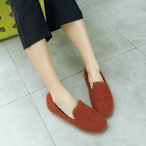Girls Woman's Loafers Wool Warm Flats Shoes