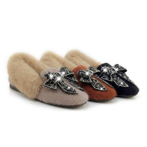 Girls Woman's Loafers Winter Bowtie Rhinestone Flats Shoes
