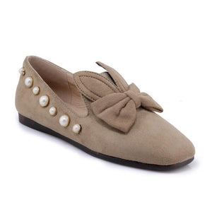 Girls Woman's Loafers Shallow Mouth Pearl Bow Tie Flats Shoes
