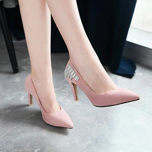 Rhinestone High Heel Shallow Mouth Bridal Shoes Women Pumps