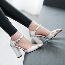 Load image into Gallery viewer, Ankle Strap Thick-heeled Sandal National Style Super High Heeleds