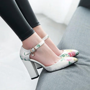Ankle Strap Thick-heeled Sandal National Style Super High Heeleds