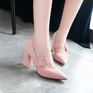 Buckle Rough-heeled High-heeled Pointed Toe Pumps