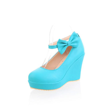 Casual Women's Sweet Bow High-heeled Shallow Mouth Platform Wedges Shoes