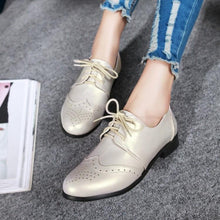Load image into Gallery viewer, Woman's Lace Up Low Heels Oxford Shoes