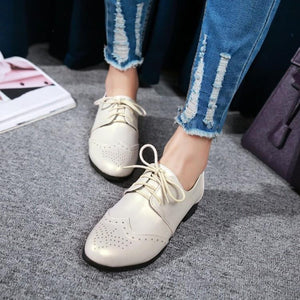 Woman's Lace Up Low Heels Oxford Shoes