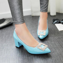 Load image into Gallery viewer, Pointed Toe High Heeled Women Block Heels Pumps