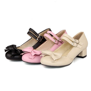 Lady Sweet Bow Mary Janes Woman's Chunkey Heels Pumps