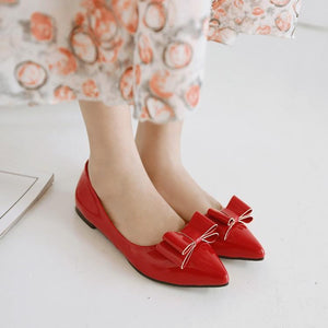 Girls Woman's Shallow Mouth Bow Flat Shoes