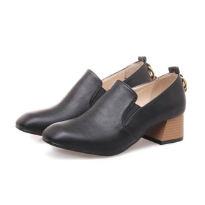 Lady Pu Leather Women's Pumps Mid Heels Shoes