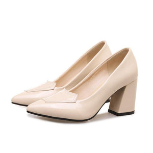 Pointed Toe High Heeled Block Heel Pumps