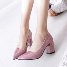 Load image into Gallery viewer, Pointed Toe Block High Heeled Shallow Mouth Wedding Shoes