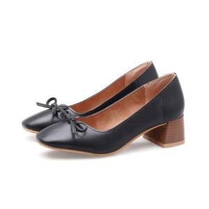 LadyCasual Shallow Mouth Middle Heels Knot Woman Pumps