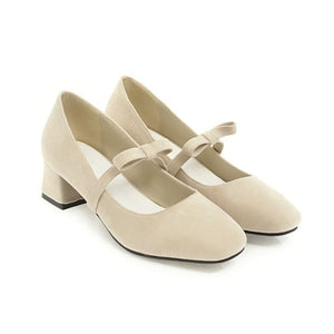 Lady Sweet Bow Square Head Size 33-43 Woman's Pumps Middle Heels Shoes