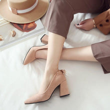 Load image into Gallery viewer, Pointed Toe High Heeled Women Chunky Heels Pumps