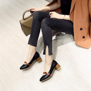 Lady Shallow Mouth Thick Heel Casual Mid Heels Women Pumps