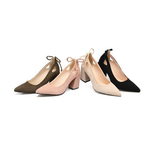 Shallow Mouth Women Chunky Heel Pumps