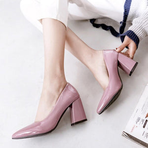Pointed Toe Block High Heeled Shallow Mouth Wedding Shoes