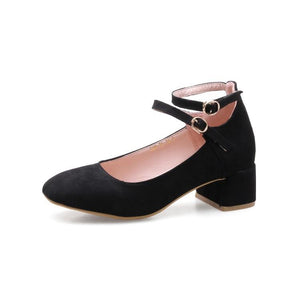Lady  Shallow Toe Buckle Women's Chunkey Heels Pumps