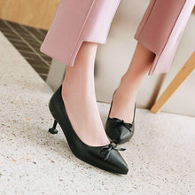Load image into Gallery viewer, Pointed Toe Pumps Bow Tie Stiletto Heel Mid Kitten Heel Woman Shoes