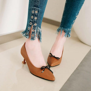 Pointed Toe Pumps Bow Tie Stiletto Heel Mid Kitten Heel Woman Shoes