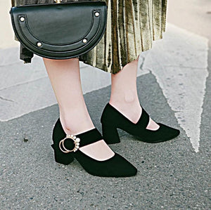 Woman's Pumps High Heeled Thick Heel