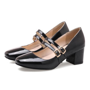 Buckle Thick Heeleded Shoes Medium Heeled Women Pumps