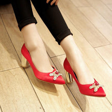 Load image into Gallery viewer, Pointed Toe High Heeled Block Heel Pumps