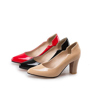 Patent Leather High Heeled Block Heel Pumps