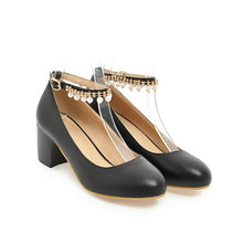 Load image into Gallery viewer, Casual Pearl Ankle Strap Women's Pumps Middle Heeleded Shoes