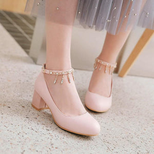 Lady Shallow Mouth Buckle Belt Round Head Women's Pumps Mid Heels Shoes