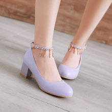 Load image into Gallery viewer, Lady Shallow Mouth Buckle Belt Round Head Women's Pumps Mid Heels Shoes