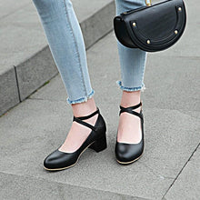 Load image into Gallery viewer, Lady Shallow Mouth Buckle Round Head Women's Pumps Mid Heels Shoes