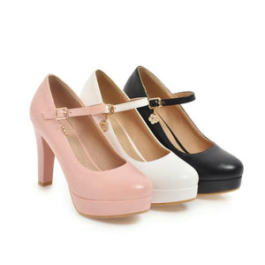 Ankle Strap Round Head Platform High Heeled Women Pumps