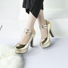 Load image into Gallery viewer, Buckle Strap High Heeled Round Head Platform Pumps