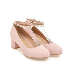 Casual Pearl Ankle Strap Women's Pumps Middle Heeleded Shoes