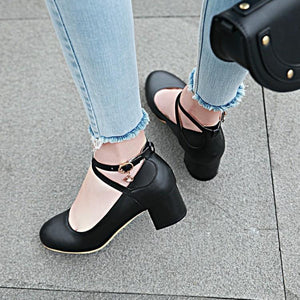 Lady Shallow Mouth Buckle Round Head Women's Pumps Mid Heels Shoes