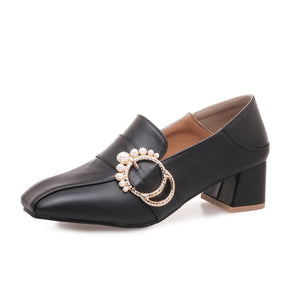 Lady Square Head Pearl Woman's Pumps Middle Heels Shoes