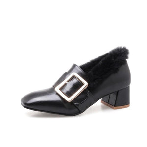 Lady Woman's Buckle Chunkey Middle Heels Shoes