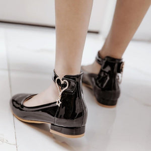 Woman's Buckle Low Heels Shoes