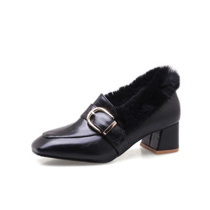 LadySpring Autumn Winter Square Head Bold Heel Large Size Woman Chunkey Heels