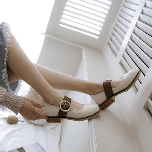 Woman's Shallow Mouth Belt Buckle Low Heels Shoes