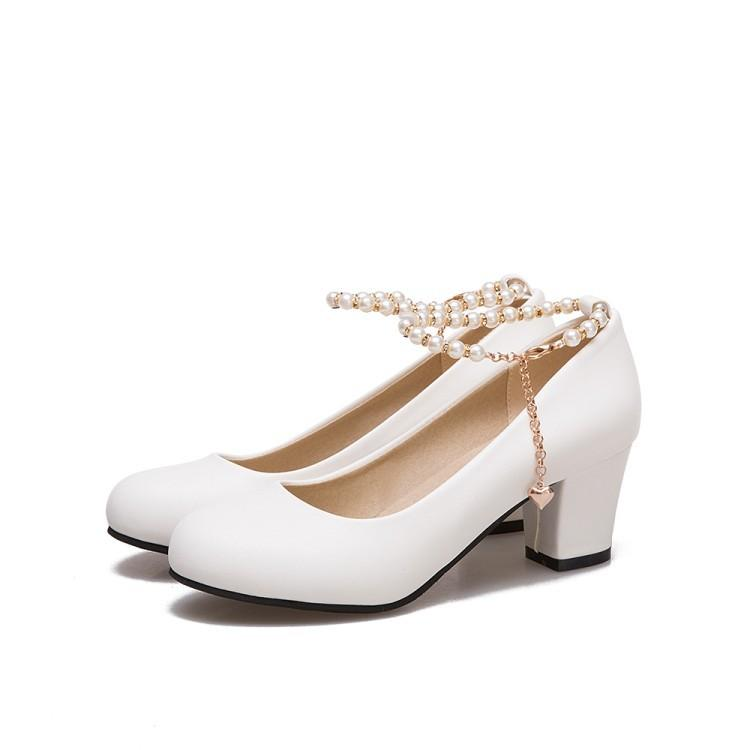 Lady Round Head Bead Ankle Strap Women's Chunkey Heels Pumps