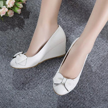 Load image into Gallery viewer, Girls Sweet Bow Wedges Shoes Woman's Heels Pumps