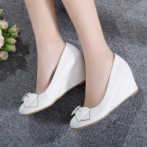 Girls Sweet Bow Wedges Shoes Woman's Heels Pumps